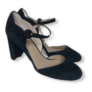Ann Taylor Black Suede Stacked Heel Mary Jane 6.5